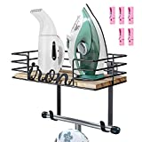 TJ.MOREE Ironing Board Hanger Wall Mount - Laundry Room Iron and Ironing Board Holder, Metal Wall Mount with Large Storage Wooden Base Basket and Removable Hooks Wood Clips Pink