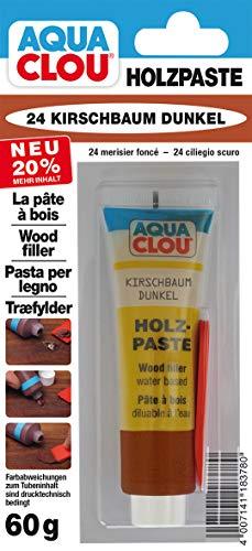 Clou Holzpaste Holzspachtel: innen Holz Spachtelmasse zum Ausbessern von Löchern, Dellen, Rissen in Möbeln, Türen, Parkett und Laminat - kirschbaum dunkel, 60 g