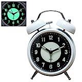 Konigswerk 4' Luminous Alarm Clock Non-Ticking Quartz Analog Retro Twin Bell Clock with Loud Alarm and Nightlight