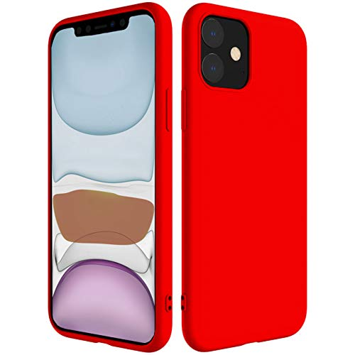 iBarbe Compatible with iPhone 11 PRO MAX 6.5 Inch Case, Soft Silicone Gel Rubber Bumper Case Anti-Scratch Microfiber Lining Phone Bumper with Anti-Scratch Shockproof Protective Cover - Red
