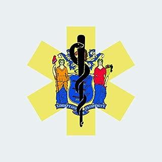 fagraphix New Jersey State Shaped EMT Flag Sticker Self Adhesive Vinyl Decal EMS Paramedic NJ