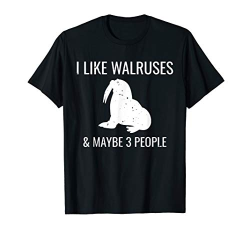 I Like Walruses & Maybe 3 People Funny Introvert T-Shirt (Best Dating Sites For Introverts)