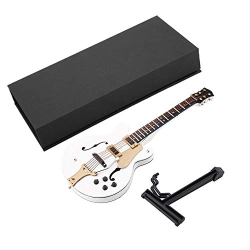 Hztyyier 14CM Miniatur Gitarre Modell mit Electric Guitar Ornament Replica Musical Figur für Home Office Decor