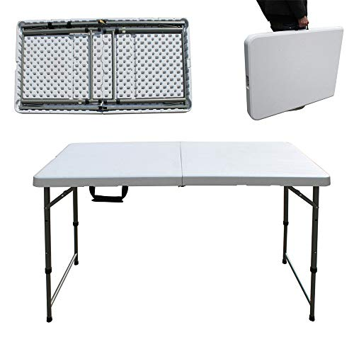 Efan Folding Camping Table 4ft Trestle Desk, Portable Picnic table with Carry Handle, For Indoor Outdoor Garden Party Dinning BBQ, Height Adjustable, 121x 61x58/74cm - 5 Year Warranty