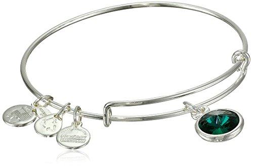 Alex and Ani 'Bangle Bar' May Imitation Birthstone Shiny-Silver Tone Expandable Bracelet