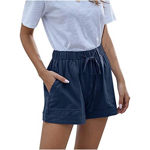 HCNTES Womens Shorts for Summer,Women's Casual Elastic Waist Comfy Cotton Beach Shorts with Drawstring Dark Blue