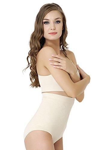 Formeasy Damen Figurformender Miederslip ohne Bein, bauchhoch - Bauchweg Unterhose Bauch Weg Slip Shapewear (M, Beige)