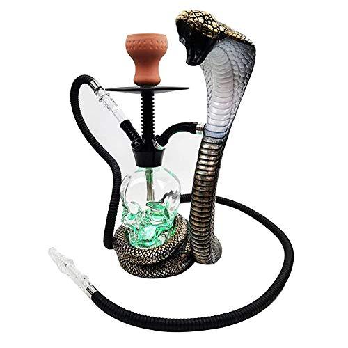 Cachimba Shisha, Conjunto De Narguila Shisha Pipe De Forma Cobra con Luz LED Manguera De Silicona Lavable para Fiesta, Club, Bar, Cena Familiar,Serpentine Hose
