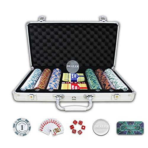 YZJJ Juego de póquer con 300 Chips láser 14 Gramos núcleo de Metal, 2 Barajas de Cartas, Distribuidor y 5 Dados, Maletas, Juego de Póquercon