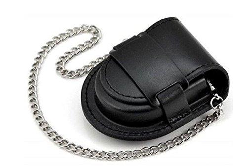(よんピース)4piece 懐中 時計 ケース 皮 レザー 保護 ブラック 黒 チェーン 付 KH0000 (ブラック)