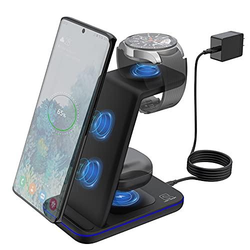 ZHIKE Cargador inalámbrico, 3 en 1 10 W de carga rápida certificada Qi, compatible con iPhone 12 Series, Samsung S20 / Note 20 / S10, Galaxy Active 2,1 / Gear S3 y Buds (no para Apple Watch)