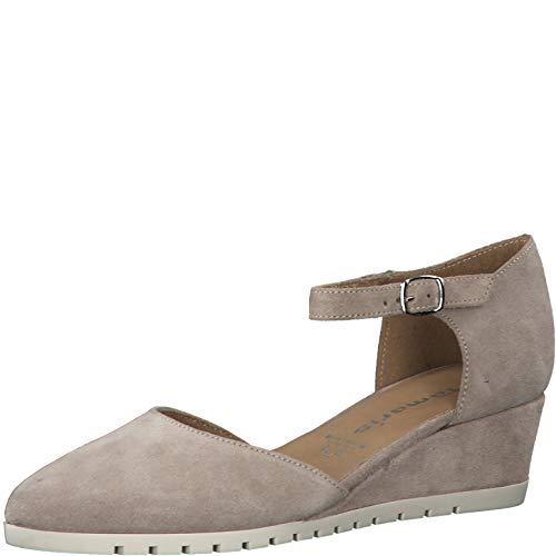 Tamaris Mujer Sandalias de Vestir 24304-24, señora Sandalias de cuña, Zapatos del Verano,cómodo,Plana,Taupe Suede,36 EU / 3.5 UK