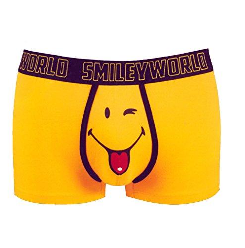 Smiley World Funny Friend lustige Boxershort Unterhose Pant Underwear Geschenk für Herren, Jungen witzig frech gelber Smileys 95% Baumwolle (S)