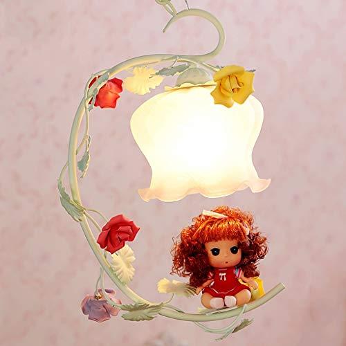 BAIJJ kleine kroonluchter voor kinderen meisjes slaapkamer lamp ijzer warm keramiek rozen bloemen plafondlamp in glasvorm