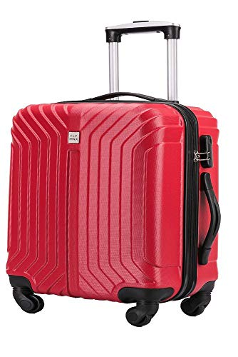 Flymax 55x35x20 4 Wheel Super Lightweight Cabin Luggage Suitcase Hand Carry on Flight Travel Bags Approved On Board Fits Flybe Easyjet Ryanair Jet 2 RED