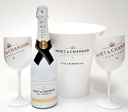 Moet & Chandon Set - Moet & Chandon ICE Imperial Champagner 75cl (12% Vol) + 2x ICE Gläser + Flaschenkühler