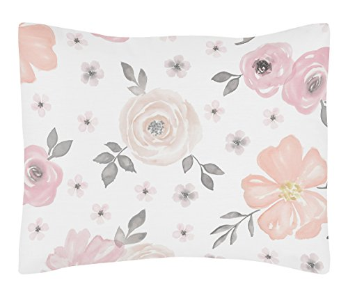 Sweet Jojo Designs Blush Pink, Grey and White Standard Pillow Sham for Watercolor Floral Collection