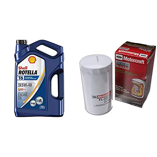 Shell Rotella T6 Full Synthetic 5W-40 Diesel Engine Oil (1-Gallon, Case of 3) + Motorcraft FL2051S Oil Filter