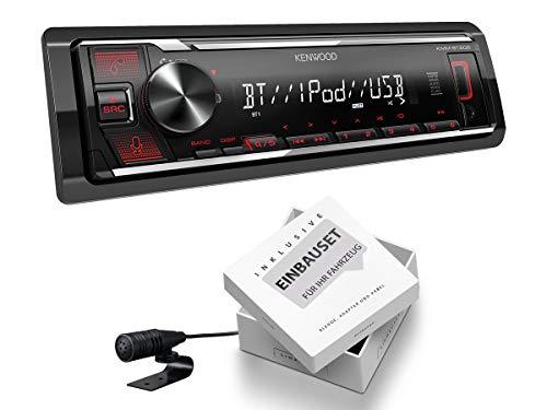 Kenwood KMM-BT206 1 DIN Auto Radio Bluetooth Shortbody passend für Audi A3 Sportback 2004-2006 schwarz nur 4/5-Türer Nicht für Bose