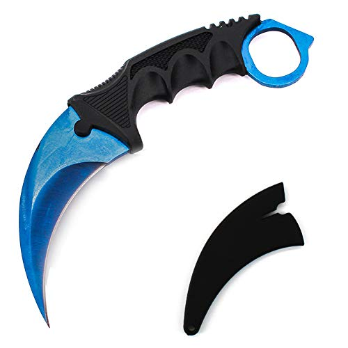 WeTop Karambit Knife, CS-GO for Hunting Camping Fishing Self Defenses and Field Survival, Stainless Steel Fixed Blade Tactical Knife with Sheath and Cord (Pure Blue).