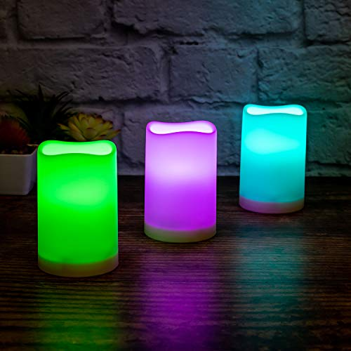 Flameless Pillar Candles Outdoor and Indoor Candles Decorative, 7 Colour Changing LED Flickering Candles with Remote Control and Timer, Set of 3, 2.5' D X 4' H