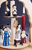 Brubaker 2-stöckige Weihnachtspyramide aus Holz - 30 cm - Krippenszene mit Jesuskind Maria und Josef, Engeln und Sternsingern - 6
