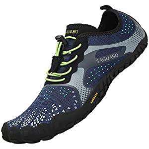 SAGUARO Unisexo Ligeras Zapatillas de Trail Running Flexibles Elástica Zapatos de Playa Ventilación Ajustables Zapato Descalzos Minimalistas Zapatillas para Pista Surf Buceo Nadando, Agua Azul 46