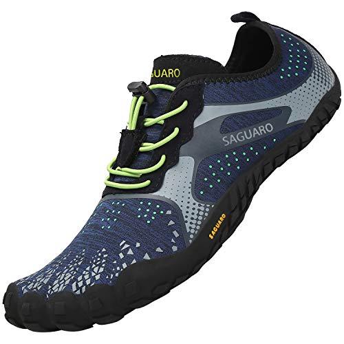 SAGUARO Unisexo Ligeras Zapatillas de Trail Running Flexibles Elástica Zapatos de Playa Ventilación Ajustables Zapato Descalzos Minimalistas Zapatillas para Pista Surf Buceo Nadando, Agua Azul 44