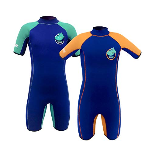 TEAM MAGNUS Kids' Wetsuit - 5mm Neoprene Shorty Extremely Insulating and Comfortable for All-Day Water Fun - Girls' and Boys' Wetsuit Age 3-14 (Devilfish (Navy/Green), 9-10)