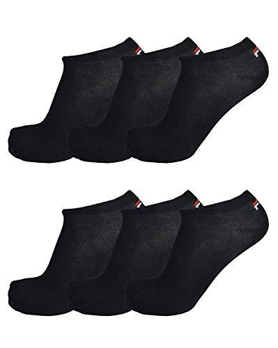 Fila® 6 Paar Socken, Invisible Sneakers Unisex, 35-46 Einfarbig - Farbenauswahl: Farbe: Schwarz | Größe: 39-42 (6-8 UK)