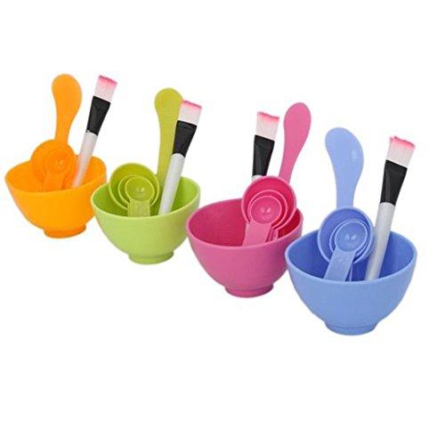 Sanwood 6 en 1 masque facial brosse cuillère bols soins du visage outils de maquillage de beauté fixés pour les femmes cadeau Hot_pink