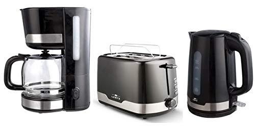LENTZ Frühstücksset 1,5 Liter Kaffeemaschine + 1,7 L Wasserkocher + 2-Scheiben-Toaster schwarz mit Edelstahl-Applikationen