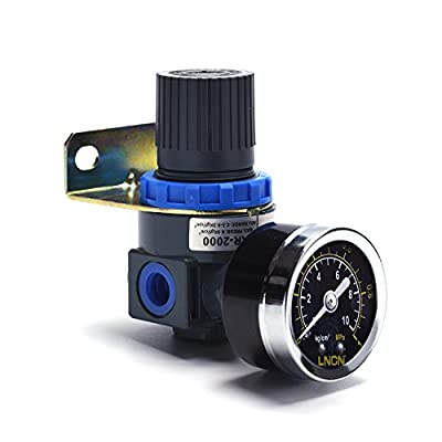 Shiningeyes 1/4 NPT Inch Air Regulator Fliter with Air Pressure Gauge for Air Compressor and Air Tools, Blue