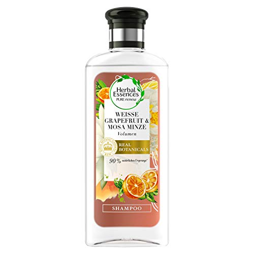 Herbal Essences PURE:renew Weiße Grapefruit & Mosa Minze Volumen Shampoo, 250 ml, Shampoo Damen, Haarpflege, Shampoo Volumen, Minze Shampoo, Grapefruit Shampoo, Haarpflege Volumen
