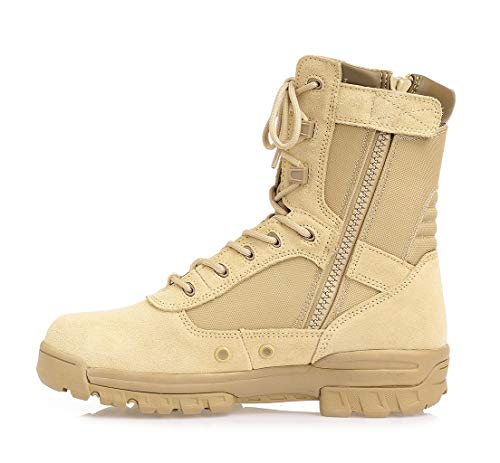 Thowi Men s Military Tactical Boots Army Jungle Boots with Zipper(Tan,Size10)