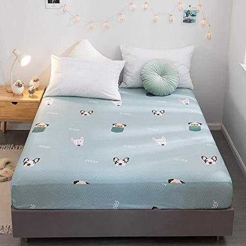 CYYyang Protector de colchón de bambú Funda de colchón y Ajustable Sábana de Cama Individual Impresa en algodón-15_180 * 200cm