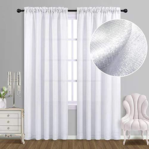 White Curtains 84 Inches Long for Living Room Design Silver Glitter Shiny Shimmer Sparkle Rod Pocket Light Filtering Semi Sheer Elegant Window Curtain Panels for Living Room Decor 52x84 Inch Length