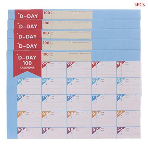 SANGHAI 5 peças, calendário de contagem regressiva de 100 dias, agenda periódica, objetivos de aprendizagem, tabela, materiais de escritório, calendário