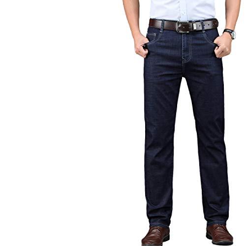 Pantalones Vaqueros para Hombre de Cintura Alta Sueltos Primavera y Verano Estiramiento Recto Casual Color sólido versátil Pantalones de Moda 34