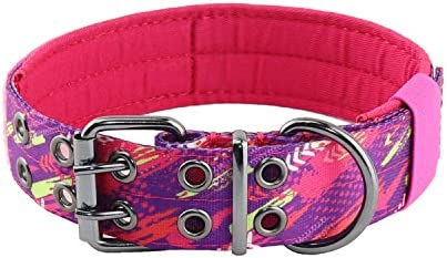 Yunleparks Heavy Duty Dog Collar Tactical Dog Collar with Metal Buckle Fashion Pattern Nylon product image