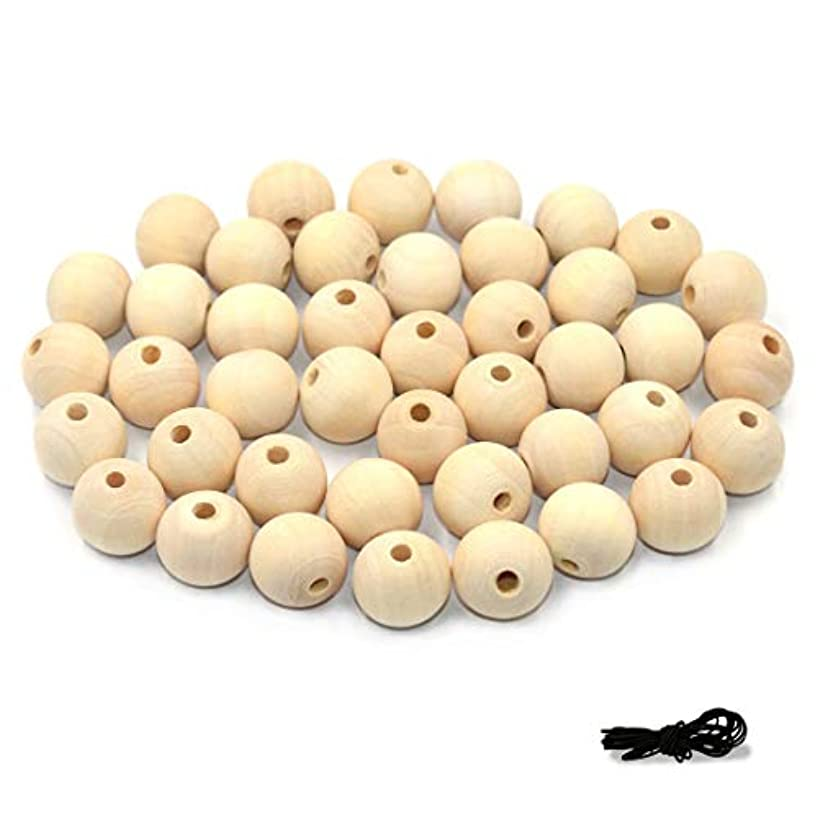 R.FLOWER Natural Wood Beads Round Ball Wooden Loose Beads Unfinished Wood Spacer Beads for Craft-making  50pcs (25mm)