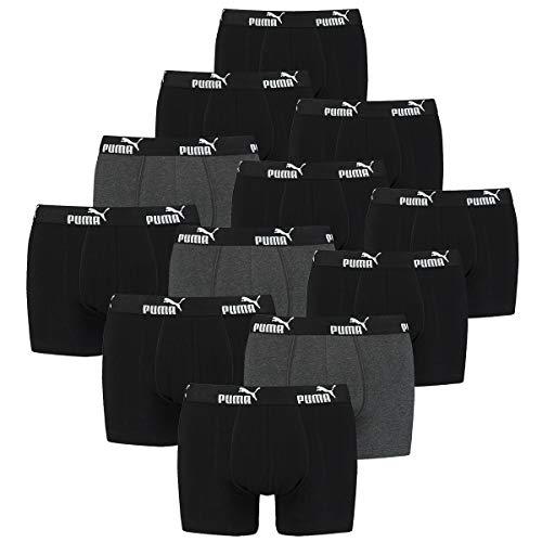 PUMA 12 er Pack Boxer Boxershorts Herren Unterwäsche Retro Pants, Farbe:Black, Bekleidungsgröße:XL