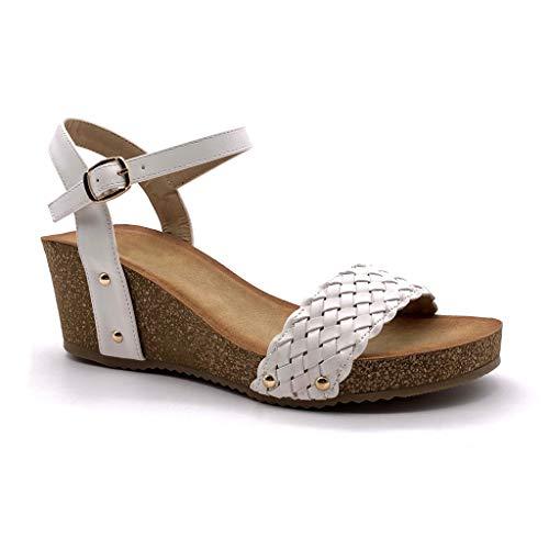 Angkorly - Damen Schuhe Sandalen Schuh-Mule - Plateauschuhe - Praktisch - Bequeme - Geflochten - Nieten-Besetzt - Kork Keilabsatz high Heel 6 cm - Weiß 4 FD-42 T 36