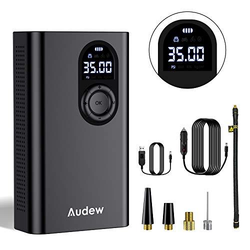 Audew Upgraded Luftkompressor Elektrische Pumpe Auto Akku mit 6000mAh USB-Output 12V 150PSI Luftpumpe Kompressor Für Auto Fahrrad Ball Tragbar Vordruck Wiederaufladbare mit LED-Licht LED-Anzeige