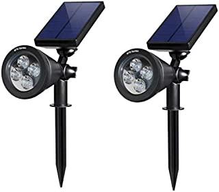 MTB Garden Solar Spotlights, 2-in-1 White Adjustable 4 LED Wall/Landscape Solar Lights with Automatic On/Off Sensor, 2 Pack