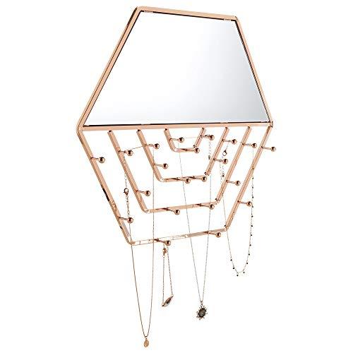 Beautify Espejo de Pared Hexagonal y Colgador de Joyería - Porta Joyas Dorado Montado en la Pared - Espejo Geométrico