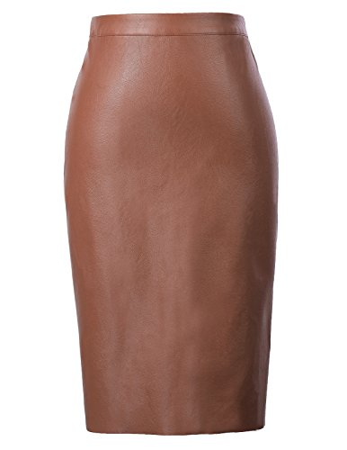 Kate Kasin Stretchy Business Pencil Skirts Brown L KK601-5