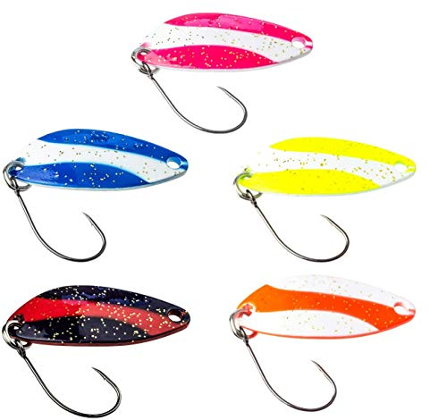 FISHINGFAY Trout Spoon Set Swing, Gewicht: 3,7 Gramm, Länge: 3,2 cm, Forellenköder, Forellenspoons, Forellen Köder Zum Angeln auf Forellen, Saiblinge und Barsche