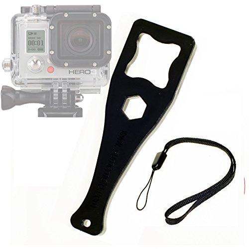 TOP-MAX Square llave llave apretar perilla adaptador montaje + correa para GoPro 1233+ (negro)