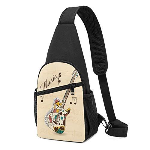 Sling Bag für Herren Anti-Diebstahl Schulterrucksack Leichte Crossbody Outdoor & Gym, Weiß - Abstrakte flippige Gitarre Musiknoten schwarz - Größe: Einheitsgröße